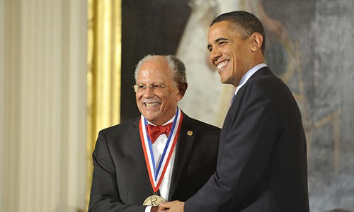 President Barack Obama giving out a Nobel prize